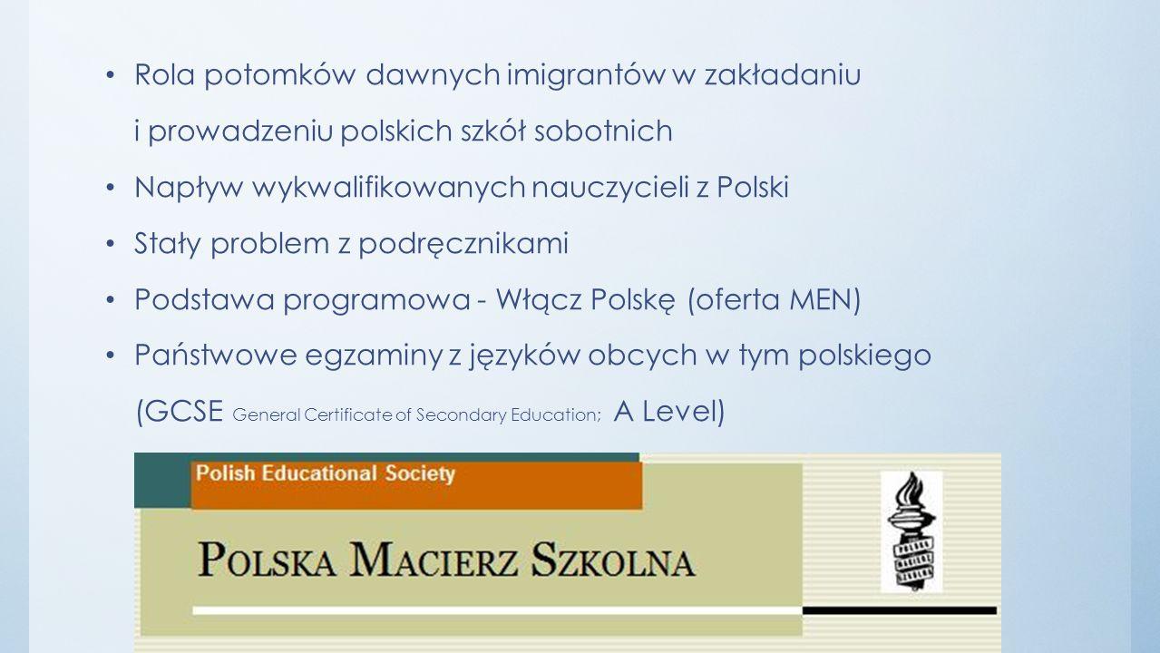 Rola potomków dawnych imigrantów w zakładaniu i prowadzeniu polskich szkół sobotnich Napływ wykwalifikowanych nauczycieli z Polski Stały problem z pod