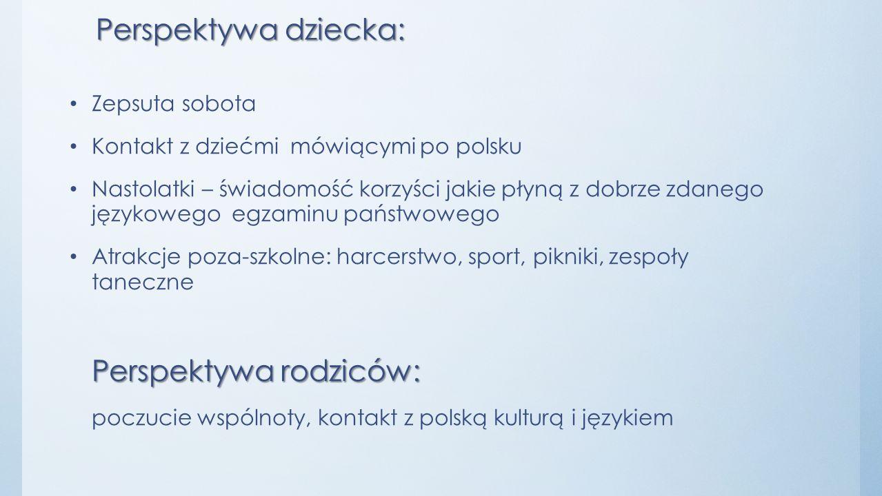 Perspektywa dziecka: Zepsuta sobota Kontakt z dziećmi mówiącymi po polsku Nastolatki – świadomość korzyści jakie płyną z dobrze zdanego językowego egz