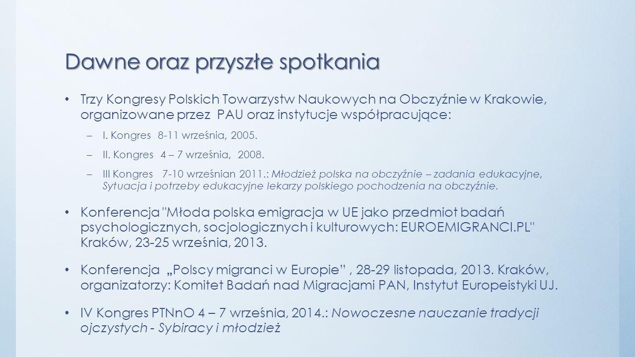 Dawne oraz przyszłe spotkania Trzy Kongresy Polskich Towarzystw Naukowych na Obczyźnie w Krakowie, organizowane przez PAU oraz instytucje współpracują