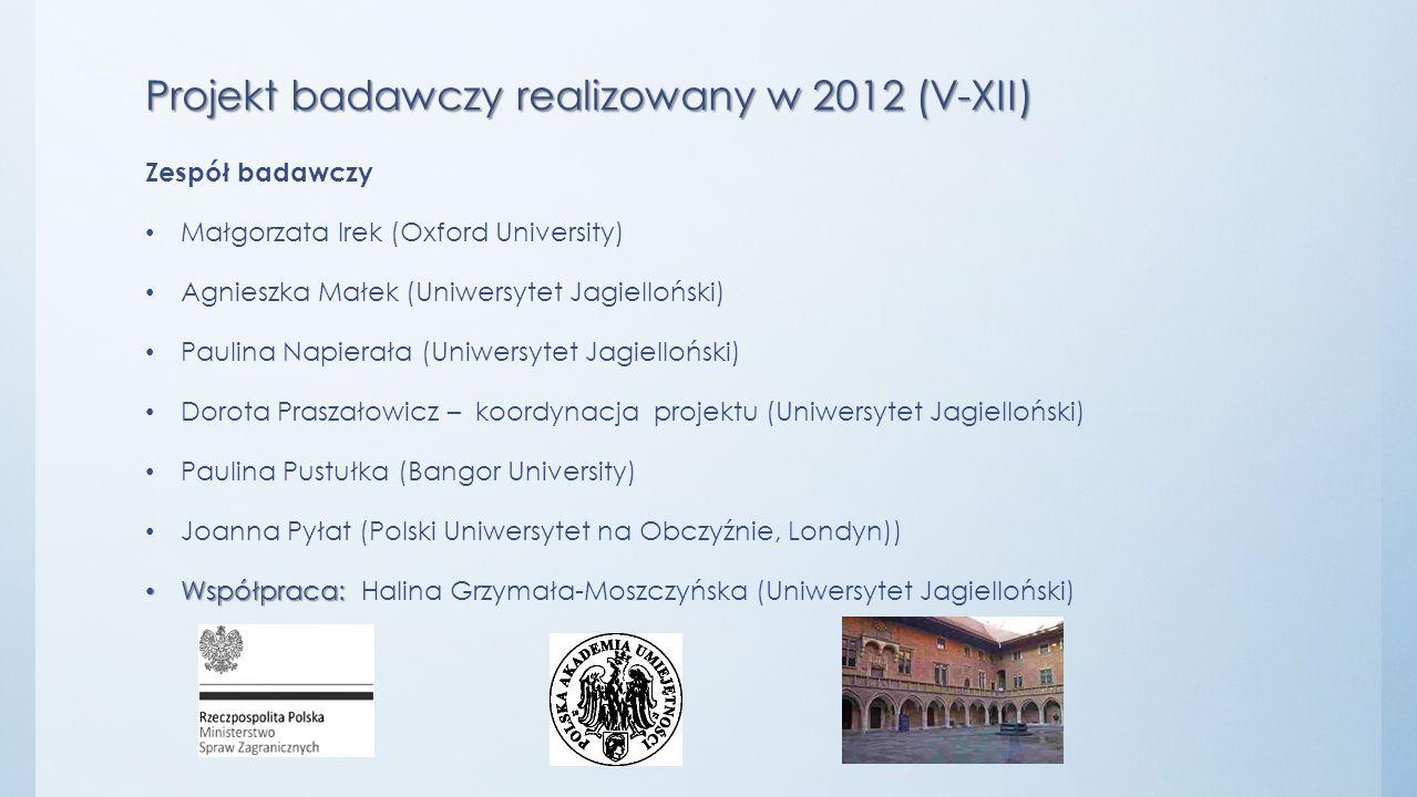 Projekt badawczy realizowany w 2012 (V-XII) Zespół badawczy Małgorzata Irek (Oxford University) Agnieszka Małek (Uniwersytet Jagielloński) Paulina Nap