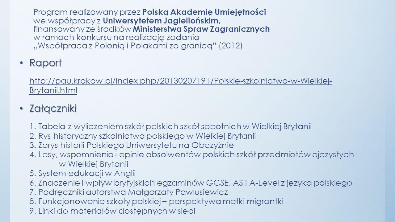 Program realizowany przez Polską Akademię Umiejętności we współpracy z Uniwersytetem Jagiellońskim, finansowany ze środków Ministerstwa Spraw Zagranic