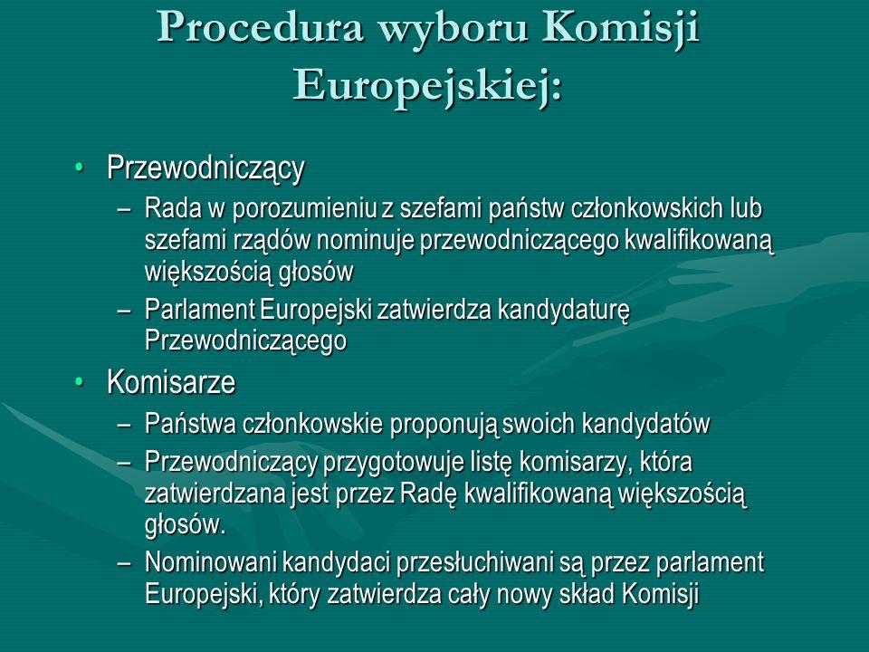 Procedura wyboru Komisji Europejskiej: PrzewodniczącyPrzewodniczący –Rada w porozumieniu z szefami państw członkowskich lub szefami rządów nominuje pr