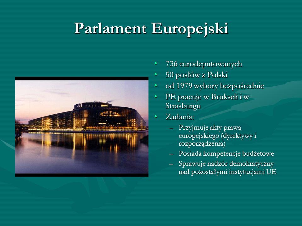 Parlament Europejski 736 eurodeputowanych 50 posłów z Polski od 1979 wybory bezpośrednie PE pracuje w Brukseli i w Strasburgu Zadania: –Przyjmuje akty