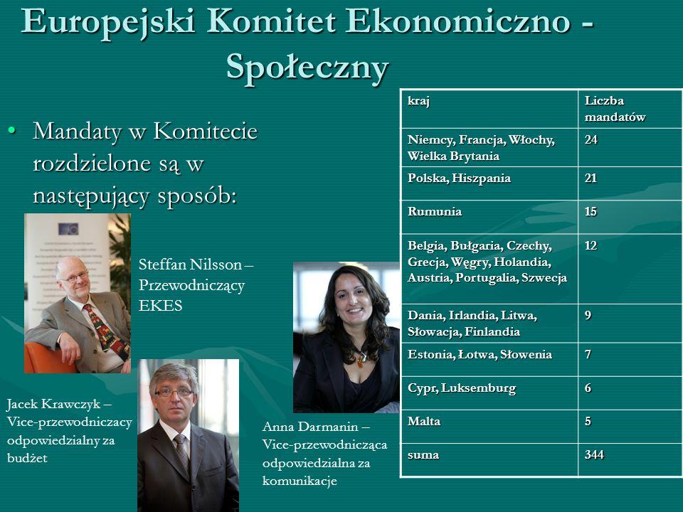 Europejski Komitet Ekonomiczno - Społeczny Mandaty w Komitecie rozdzielone są w następujący sposób:Mandaty w Komitecie rozdzielone są w następujący sp