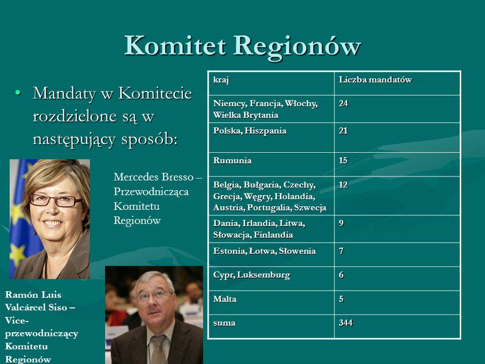Komitet Regionów Mandaty w Komitecie rozdzielone są w następujący sposób:Mandaty w Komitecie rozdzielone są w następujący sposób: kraj Liczba mandatów