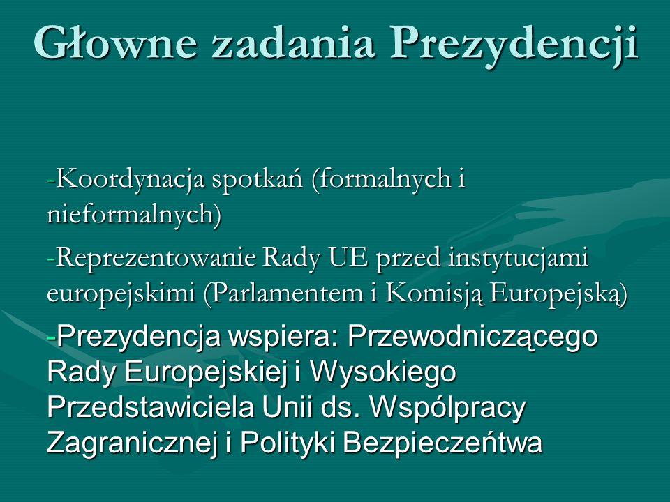 Głowne zadania Prezydencji -Koordynacja spotkań (formalnych i nieformalnych) -Reprezentowanie Rady UE przed instytucjami europejskimi (Parlamentem i K