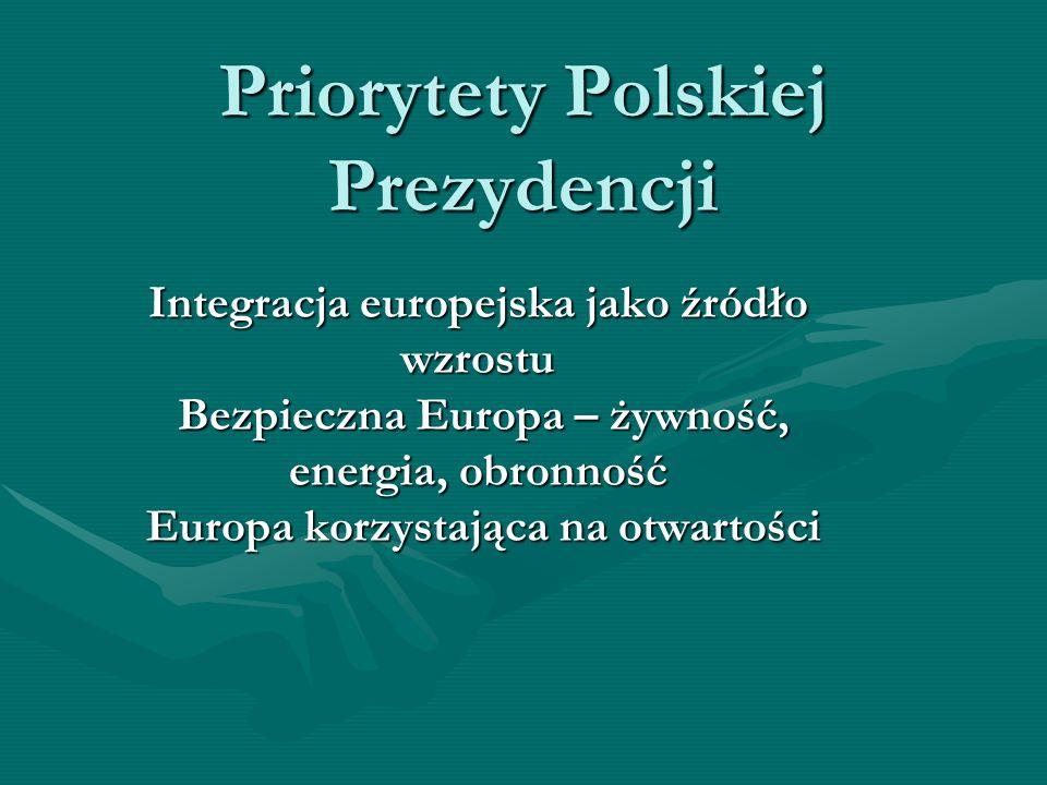 Priorytety Polskiej Prezydencji Integracja europejska jako źródło wzrostu Bezpieczna Europa – żywność, energia, obronność Europa korzystająca na otwar