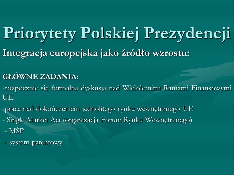 Priorytety Polskiej Prezydencji Integracja europejska jako źródło wzrostu: GŁÓWNE ZADANIA: -rozpocznie się formalna dyskusja nad Wieloletnimi Ramami F