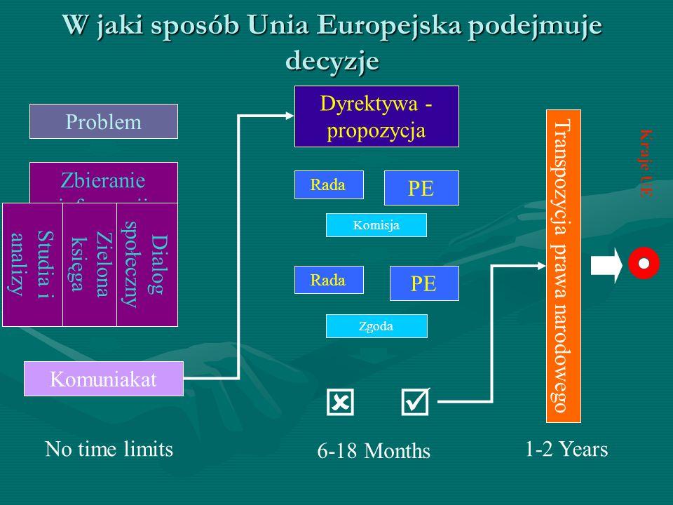 W jaki sposób Unia Europejska podejmuje decyzje Kraje UE Problem Zbieranie informacji Studia i analizy Zielona księga Dialog społeczny Komuniakat Dyre