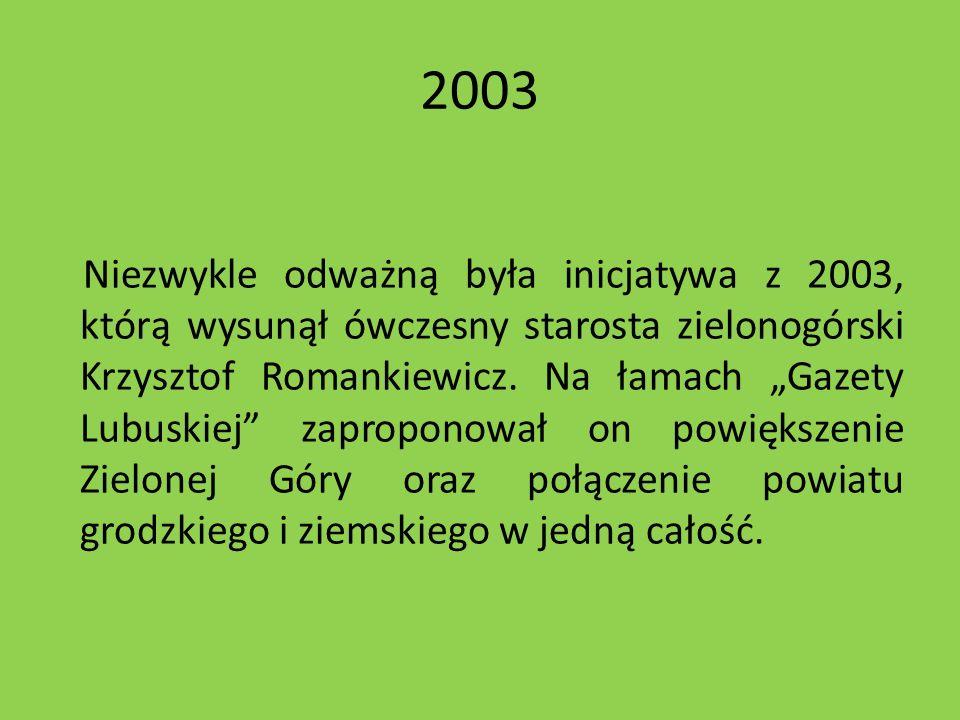 2003 Niezwykle odważną była inicjatywa z 2003, którą wysunął ówczesny starosta zielonogórski Krzysztof Romankiewicz. Na łamach Gazety Lubuskiej zaprop