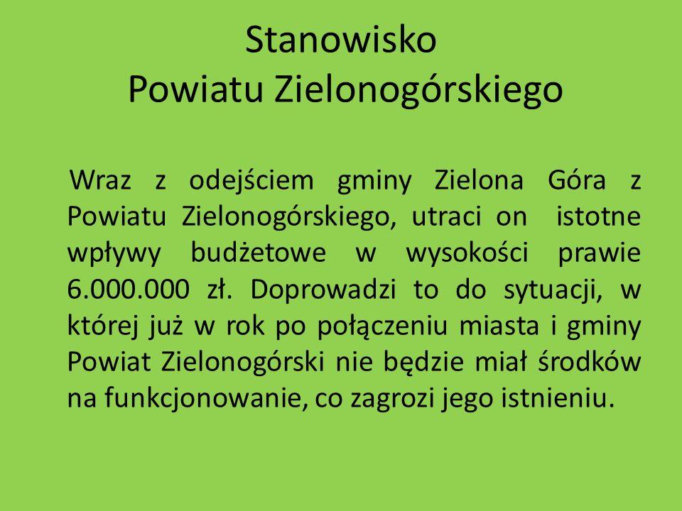 Stanowisko Powiatu Zielonogórskiego Wraz z odejściem gminy Zielona Góra z Powiatu Zielonogórskiego, utraci on istotne wpływy budżetowe w wysokości pra
