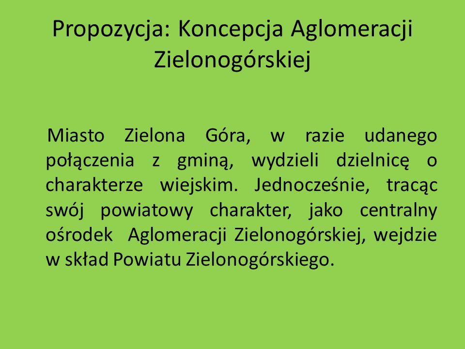Propozycja: Koncepcja Aglomeracji Zielonogórskiej Miasto Zielona Góra, w razie udanego połączenia z gminą, wydzieli dzielnicę o charakterze wiejskim.