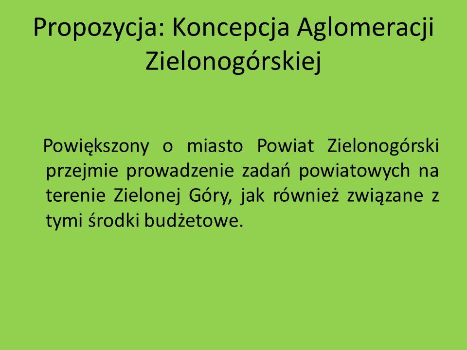 Propozycja: Koncepcja Aglomeracji Zielonogórskiej Powiększony o miasto Powiat Zielonogórski przejmie prowadzenie zadań powiatowych na terenie Zielonej