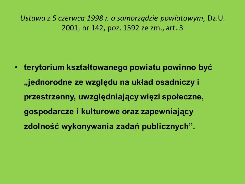 Ustawa z 5 czerwca 1998 r. o samorządzie powiatowym, Dz.U. 2001, nr 142, poz. 1592 ze zm., art. 3 terytorium kształtowanego powiatu powinno być jednor