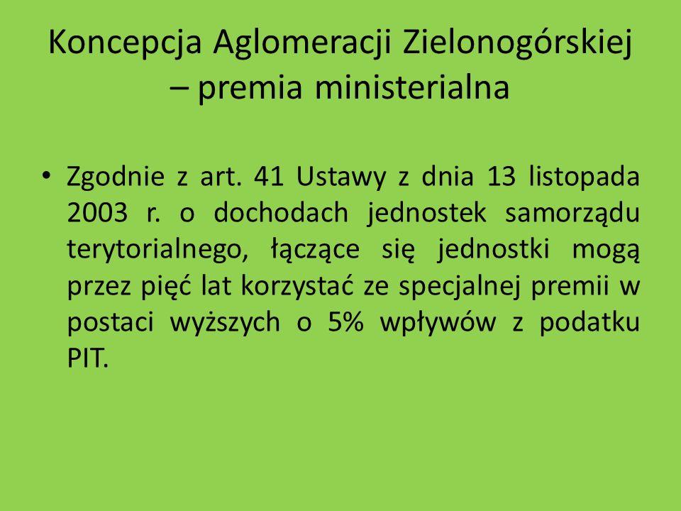 Koncepcja Aglomeracji Zielonogórskiej – premia ministerialna Zgodnie z art. 41 Ustawy z dnia 13 listopada 2003 r. o dochodach jednostek samorządu tery