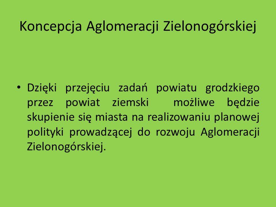 Koncepcja Aglomeracji Zielonogórskiej Dzięki przejęciu zadań powiatu grodzkiego przez powiat ziemski możliwe będzie skupienie się miasta na realizowan