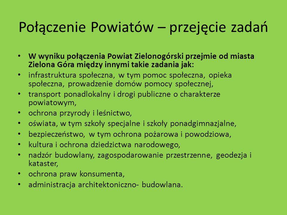 Połączenie Powiatów – przejęcie zadań W wyniku połączenia Powiat Zielonogórski przejmie od miasta Zielona Góra między innymi takie zadania jak: infras