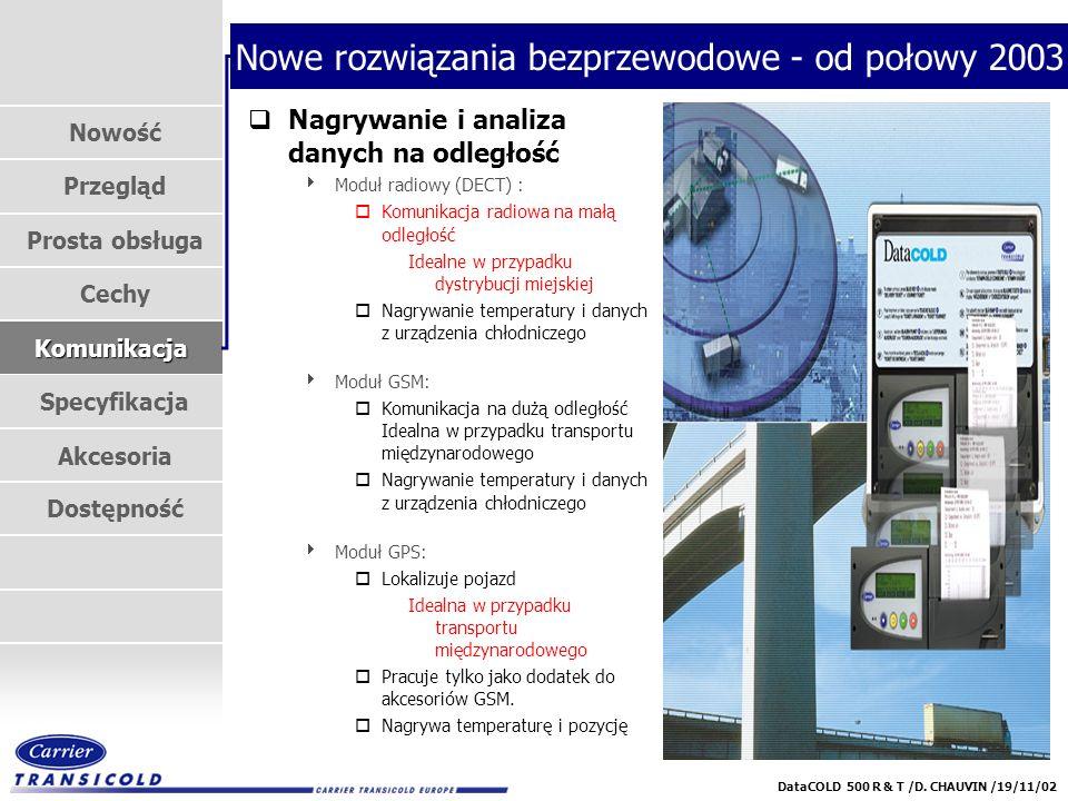 Nowość Przegląd Prosta obsługa Cechy Komunikacja Specyfikacja Akcesoria Dostępność DataCOLD 500 R & T /D. CHAUVIN /19/11/02 Nowe rozwiązania bezprzewo