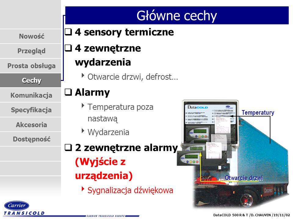 Nowość Przegląd Prosta obsługa Cechy Komunikacja Specyfikacja Akcesoria Dostępność DataCOLD 500 R & T /D. CHAUVIN /19/11/02 Temperatury Otwarcie drzwi