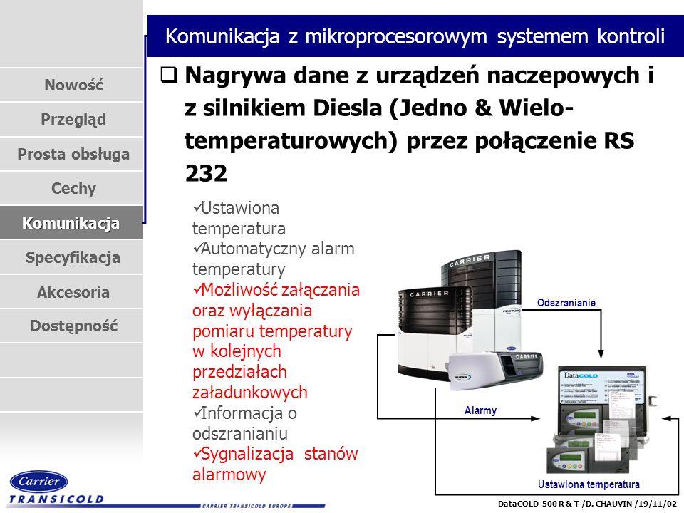 Nowość Przegląd Prosta obsługa Cechy Komunikacja Specyfikacja Akcesoria Dostępność DataCOLD 500 R & T /D. CHAUVIN /19/11/02 Ustawiona temperatura Alar