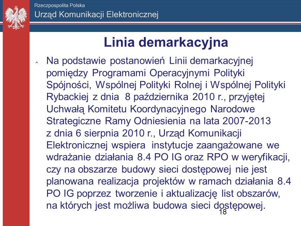 Linia demarkacyjna Na podstawie postanowień Linii demarkacyjnej pomiędzy Programami Operacyjnymi Polityki Spójności, Wspólnej Polityki Rolnej i Wspóln
