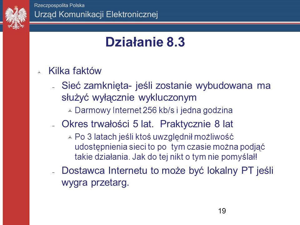 Działanie 8.3 Kilka faktów Sieć zamknięta- jeśli zostanie wybudowana ma służyć wyłącznie wykluczonym Darmowy Internet 256 kb/s i jedna godzina Okres t
