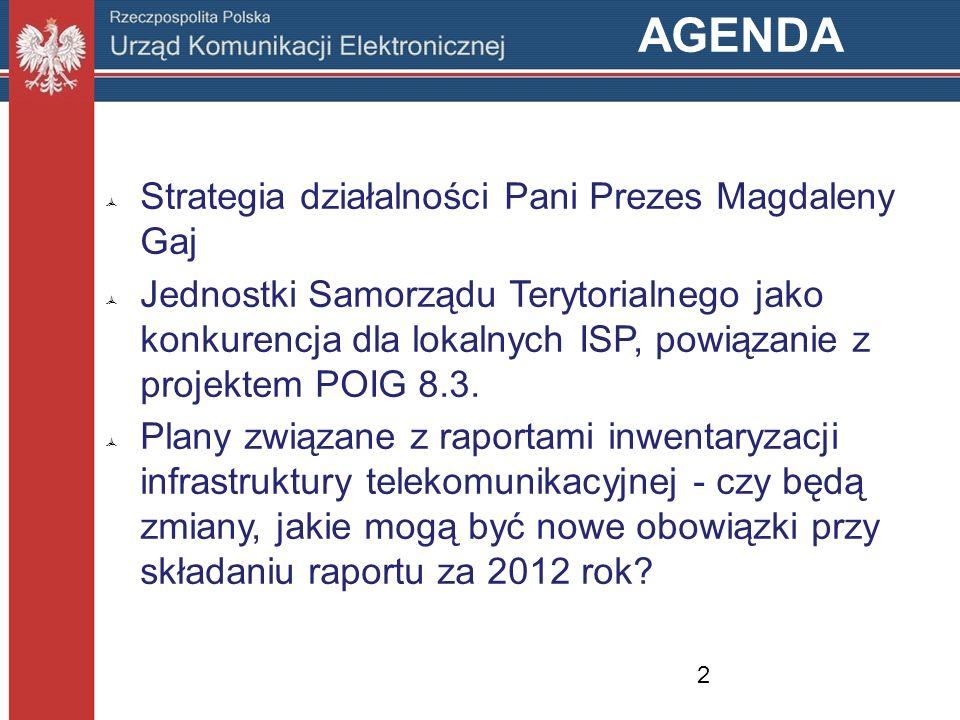 AGENDA Strategia działalności Pani Prezes Magdaleny Gaj Jednostki Samorządu Terytorialnego jako konkurencja dla lokalnych ISP, powiązanie z projektem