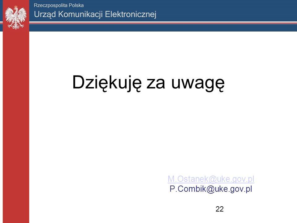 Dziękuję za uwagę M.Ostanek@uke.gov.pl P.Combik@uke.gov.pl 22