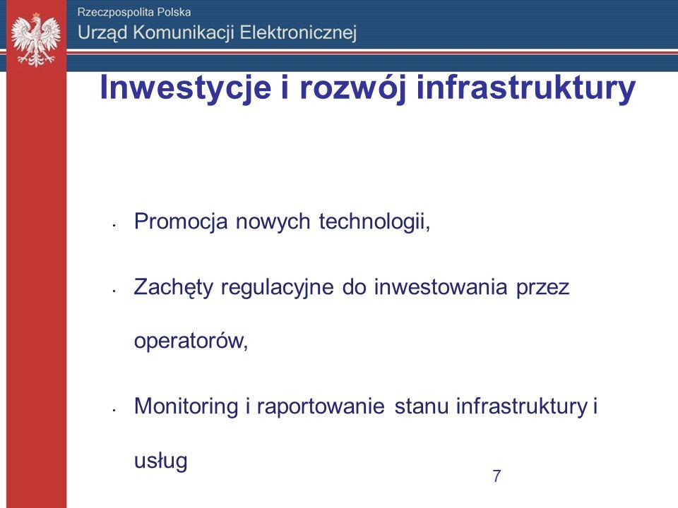 Inwestycje i rozwój infrastruktury Promocja nowych technologii, Zachęty regulacyjne do inwestowania przez operatorów, Monitoring i raportowanie stanu