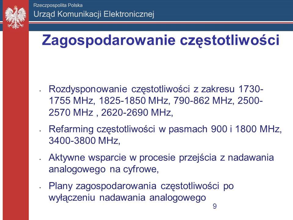 Zagospodarowanie częstotliwości Rozdysponowanie częstotliwości z zakresu 1730- 1755 MHz, 1825-1850 MHz, 790-862 MHz, 2500- 2570 MHz, 2620-2690 MHz, Re