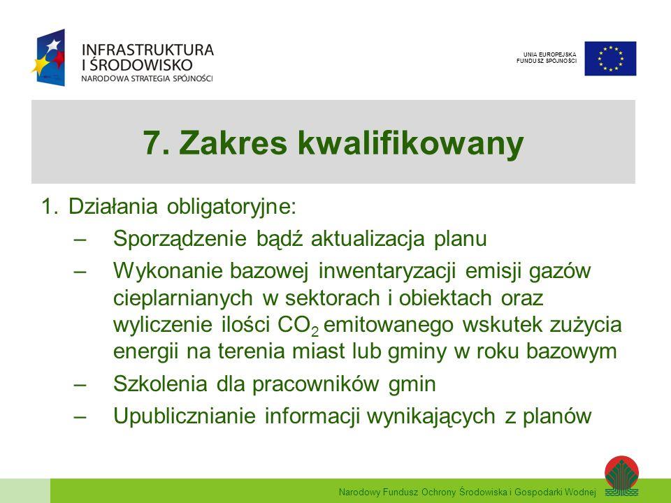 Narodowy Fundusz Ochrony Środowiska i Gospodarki Wodnej UNIA EUROPEJSKA FUNDUSZ SPÓJNOŚCI 7. Zakres kwalifikowany 1.Działania obligatoryjne: –Sporządz