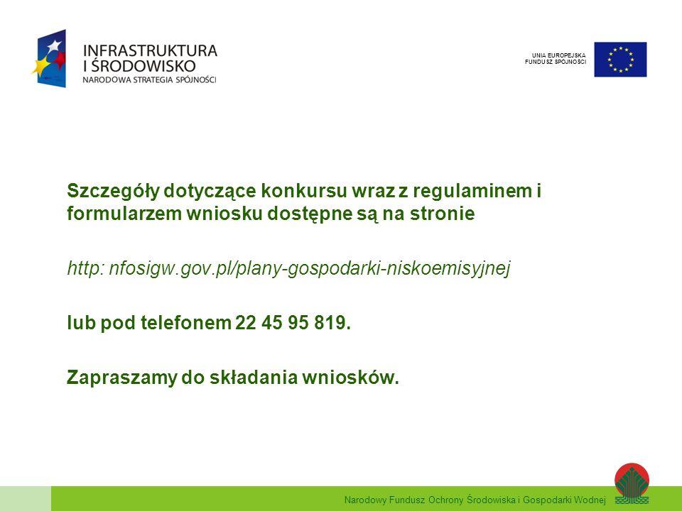 Narodowy Fundusz Ochrony Środowiska i Gospodarki Wodnej UNIA EUROPEJSKA FUNDUSZ SPÓJNOŚCI Szczegóły dotyczące konkursu wraz z regulaminem i formularze