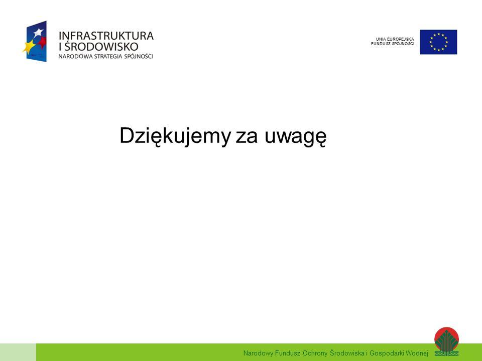 Narodowy Fundusz Ochrony Środowiska i Gospodarki Wodnej UNIA EUROPEJSKA FUNDUSZ SPÓJNOŚCI Dziękujemy za uwagę