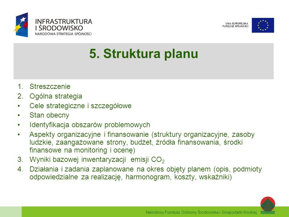 Narodowy Fundusz Ochrony Środowiska i Gospodarki Wodnej UNIA EUROPEJSKA FUNDUSZ SPÓJNOŚCI 5. Struktura planu 1.Streszczenie 2.Ogólna strategia Cele st