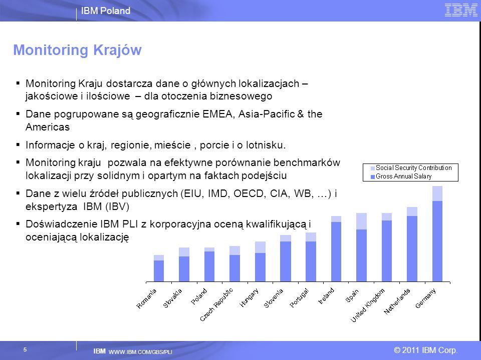 IBM Poland © 2011 IBM Corp. IBM WWW.IBM.COM/GBS/PLI 5 Monitoring Krajów Monitoring Kraju dostarcza dane o głównych lokalizacjach – jakościowe i ilości