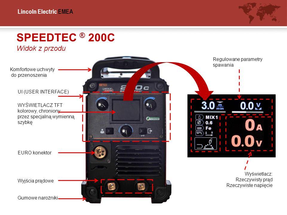 Lincoln Electric EMEA WYŚWIETLACZ TFT kolorowy, chroniony przez specjalną wymienną szybkę SPEEDTEC ® 200C Widok z przodu UI (USER INTERFACE) EURO kone