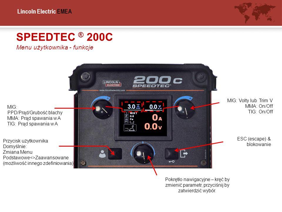 Lincoln Electric EMEA MIG: PPD/Prąd/Grubość blachy MMA: Prąd spawania w A TIG: Prąd spawania w A MIG: Volty lub Trim V MMA: On/Off TIG: On/Off Pokrętł