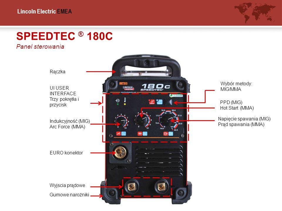 Lincoln Electric EMEA SPEEDTEC ® 180C Panel sterowania UI USER INTERFACE Trzy pokrętła i przycisk EURO konektor Gumowe narożniki Rączka Wyjscia prądow