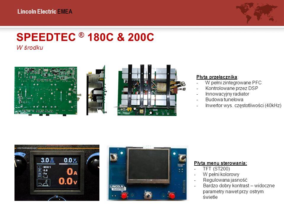 Lincoln Electric EMEA SPEEDTEC ® 180C & 200C W środku Płyta przełącznika: -W pełni zintegrowane PFC -Kontrolowane przez DSP -Innowacyjny radiator -Bud