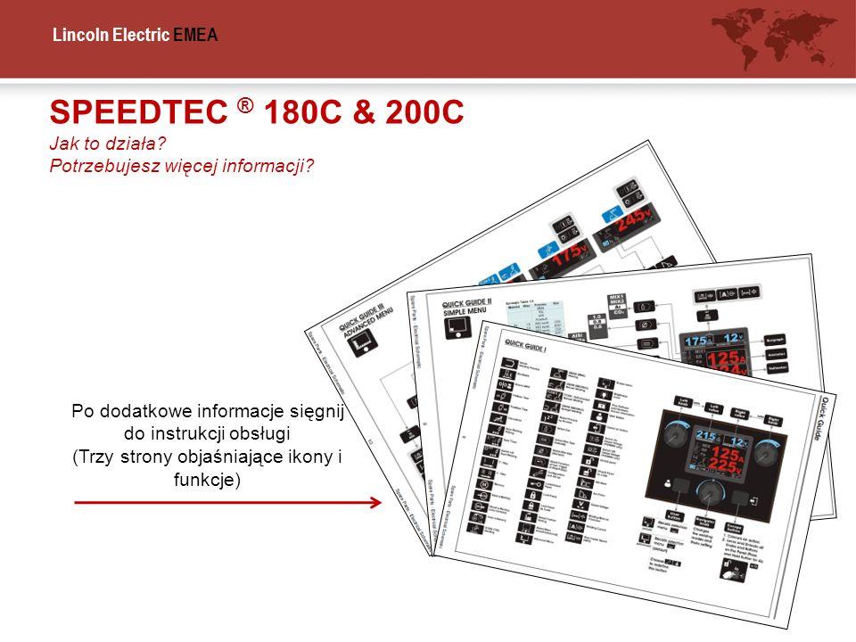 Lincoln Electric EMEA SPEEDTEC ® 180C & 200C Jak to działa? Potrzebujesz więcej informacji? Po dodatkowe informacje sięgnij do instrukcji obsługi (Trz