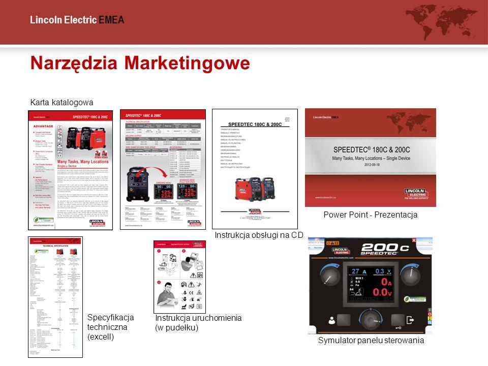 Lincoln Electric EMEA Narzędzia Marketingowe Karta katalogowa Instrukcja obsługi na CD Power Point - Prezentacja Symulator panelu sterowania Specyfika