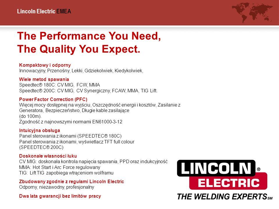 Lincoln Electric EMEA The Performance You Need, The Quality You Expect. Kompaktowy i odporny Innowacyjny, Przenośny, Lekki, Gdziekolwiek, Kiedykolwiek