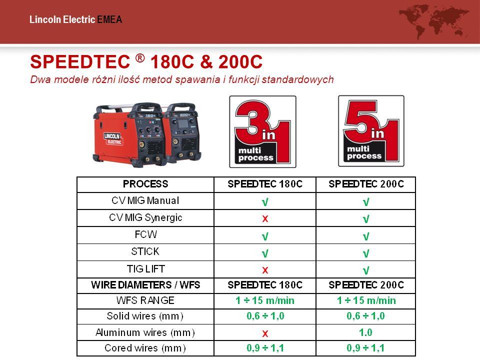 Lincoln Electric EMEA SPEEDTEC ® 180C & 200C Dwa modele różni ilość metod spawania i funkcji standardowych