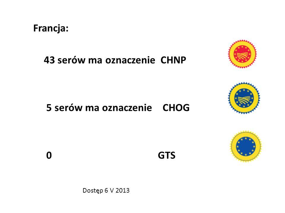 Francja: 43 serów ma oznaczenie CHNP 5 serów ma oznaczenie CHOG 0 GTS Dostęp 6 V 2013