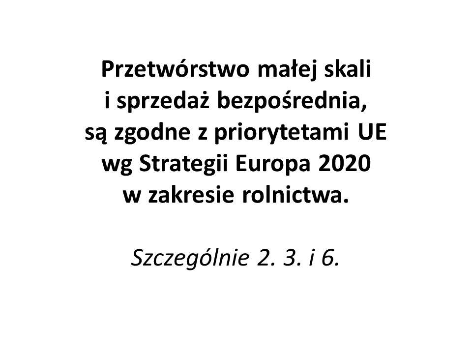 Przetwórstwo małej skali i sprzedaż bezpośrednia, są zgodne z priorytetami UE wg Strategii Europa 2020 w zakresie rolnictwa. Szczególnie 2. 3. i 6.