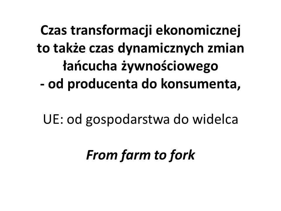 Czas transformacji ekonomicznej to także czas dynamicznych zmian łańcucha żywnościowego - od producenta do konsumenta, UE: od gospodarstwa do widelca