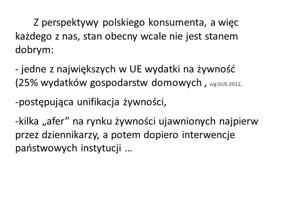 Z perspektywy polskiego konsumenta, a więc każdego z nas, stan obecny wcale nie jest stanem dobrym: - jedne z największych w UE wydatki na żywność (25