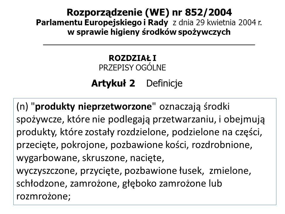 Rozporządzenie (WE) nr 852/2004 Parlamentu Europejskiego i Rady z dnia 29 kwietnia 2004 r.