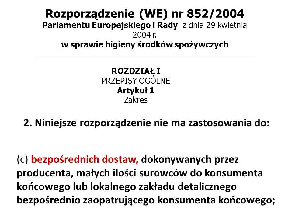 Rozporządzenie (WE) nr 852/2004 Parlamentu Europejskiego i Rady z dnia 29 kwietnia 2004 r. w sprawie higieny środków spożywczych _____________________