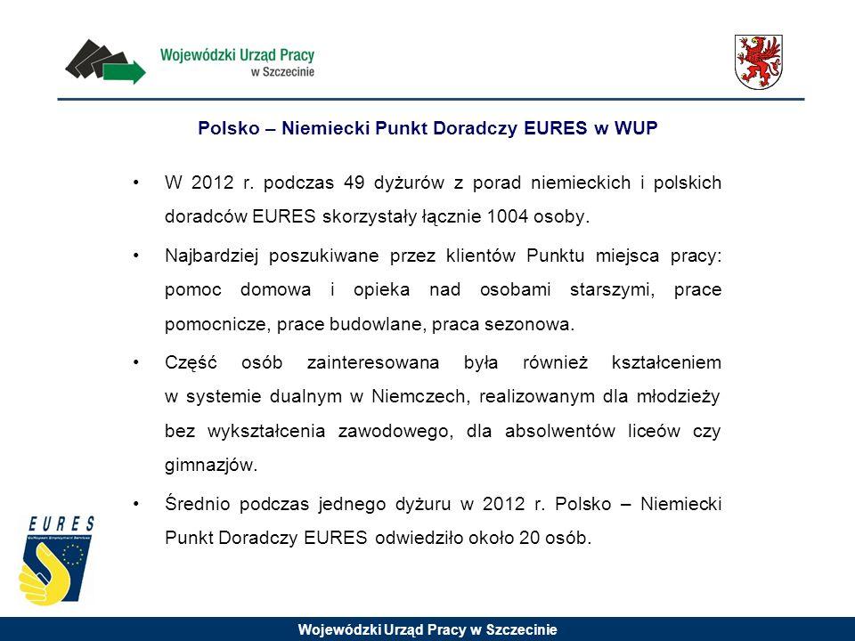Wojewódzki Urząd Pracy w Szczecinie W 2012 r. podczas 49 dyżurów z porad niemieckich i polskich doradców EURES skorzystały łącznie 1004 osoby. Najbard